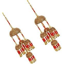 Mansiyaorange Fancy Wedding Wear Punabi Red kalere/Kaleera/Kalera/Bridal Hand Hanging/kaleera for Brides/Girls/Women(AAA AD Stone Premium Range)(9 Inch Long 3 Inch Wide)