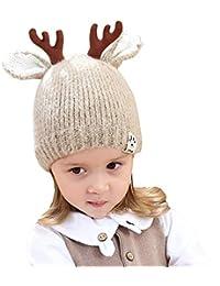 QinMM Berretto di Natale Bambino Bambini Autunno e Inverno Antler binaurale  Etichetta Cappello di Natale Cappello cb83b433cea3
