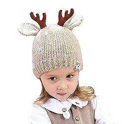 FeiliandaJJ Baby Mütze Mädchen Jungen Weihnachten Geweih Wintermütze Wollmütze Strickmütze (Kaffee)