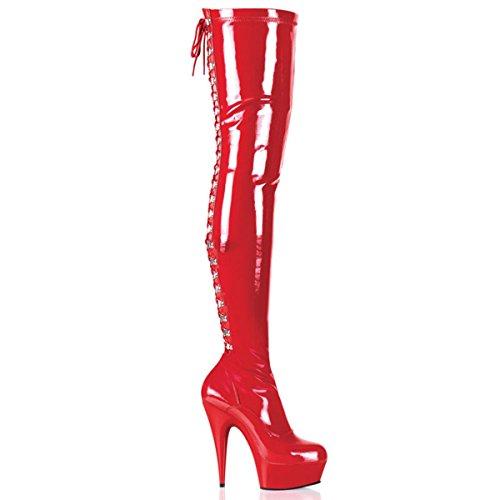 Pleaser Delight-3063 - Sexy Plateau High Heels Overknee Stiefel 36-45, Größe:EU-45 / US-14 / UK-11