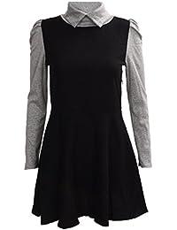 Kleid - SODIAL(R)Frauen Polo Ausschnitt lange Huelsen duenne  Strickpulloverkleid Schwarz L 207cf866e6