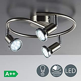 B.K. Licht LED 3 spots ceiling spotlight, rotatable spots, 3 x 3W GU10 bulbs included, 250 lumens each, warm white light 3000K, ceiling light for kitchen, living room and bedroom, metal spot bar, matt nickel design, 230V, IP20