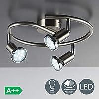 Faretti LED da soffitto orientabili, include 3 lampadine GU10 da 3W, luce calda 3000K, plafoniera moderna da soffitto a spirale per salotto, cucina o entrata, metallo color nickel e cromato 230V IP20