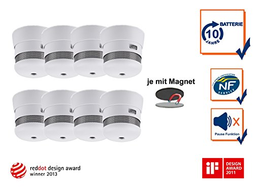 8er Set 2002-023 Cavius Mini-Design 10-Jahres Rauchmelder inkl. Magnethalter, 2002-023Set-8