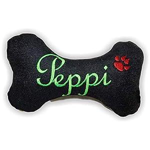 Hunde quietsch Spielzeug personalisiert Kissen Jeans Knochen Hundeknochen schwarz XXS XS S M L XL XXL Name Wunschname bestickt Hundekissen Unikat persönliches Geschenk Hundespielzeug