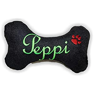 Hunde quietsch Spielzeug personalisiert Kissen Jeans Knochen Hundeknochen schwarz XXS XS S M L XL XXL Name Wunschname…