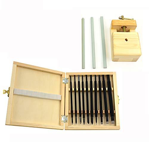 YXMxxm 10 stücke Mangan Stahl Hand Carving Meißel Werkzeug Stein Carving Dichtung Handwerk Holzschnitzerei Gravur Professionelle Werkzeuge w/Aufbewahrungsbox