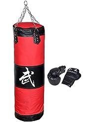 'huqiqun 39bolsas pesados y guantes de boxeo, MMA bolsas de entrenamiento para golpe (pesados con cadena (vacío) + guantes de boxeo un conjunto saco de arena de entrenamiento approprié para taekwondo–Bolsa de jugar con Muay Thai