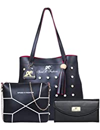 SPEED X FASHION BLACK PU HANDBAG (COMBO)