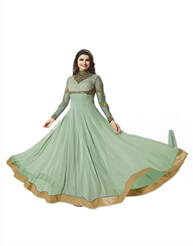 Prachi Desai Fantastic Wedding Wear Suit Embroidered Georgette Anarkali Semi-stitched Salwar Kameez Dupatta/Salwar Suit