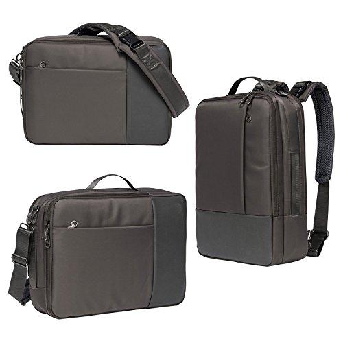 Multifunktions-Laptop Rucksack Aktenkoffer Messenger Business Travel Sport Computer Tasche für 15,6 Zoll Notebook Macbook / Laptop / Notebook / Tablet PC / Ultrabook / Chromebook, Schwarz (Grau)