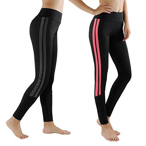 GoVIA Leggings Damen Laufhose Luftdurchlässige Trainingshose Sporthose Yogahose Fitness Yoga High Waist Lang Streifen 4138 Pink+Grau L/XL