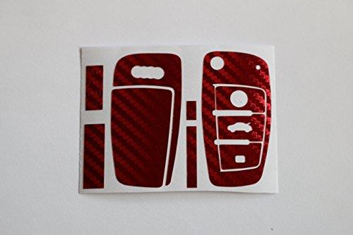 Carbon autocollant décoratif chrome/rouge clés key audi tT 8J format a1 a3 8p a4 b7 q7 4F s3 s4