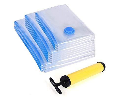 Cratone Vakuumbeutel 10 Stück Reise Vakuum Aufbewahrungsbeutel Wiederverwendbar für Bettwäsche Wolldecken Kleidung Kissen Bettdecken Vorhänge Handtücher mit Pumpe
