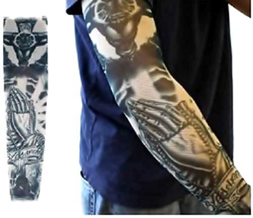 Inception pro infinite modello w24 - manicotto tattoo - indossabile - manica - tatuaggio finto - immagine - mani che pregano unite e scritta blessed - tatoo - mezza manica - tribale