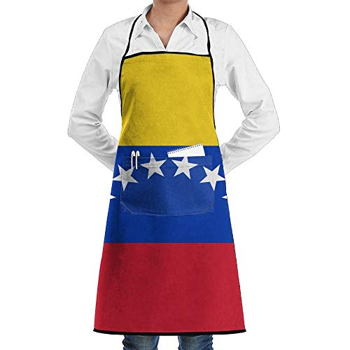 GDESFR Apron with Pock,Venezuela Glorious Flag Faction Unisex Kitchen Cooking Garden Apron,Convenient Adjustable Sewing Pocket Waterproof Chef Aprons