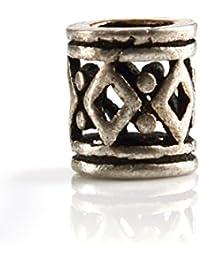 Bartperle Wikinger, klein 3mm Innendurchmesser aus 925er Silber mit Rautenmuster