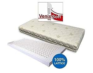 Materasso piazza e mezza 120x200 in 100% lattice h18cm con rivestimento aloe vera sfoderabile lavabile
