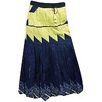 Boho Chic Womens Long Skirt Blue Printed Gypsy Flared Hippie Skirts