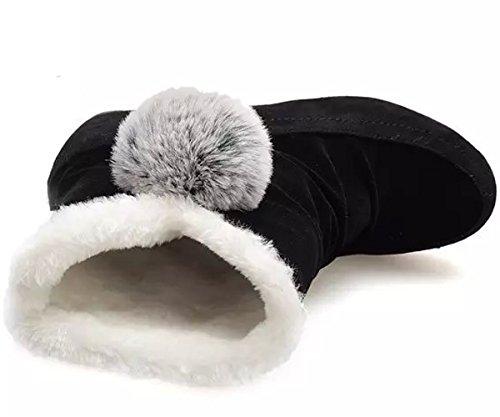 Minetom Femmes Filles Hiver Chaud Bottes De Neige Anti Slip Suède Cuir Chaussures Boots Classique Court Bottes Noir