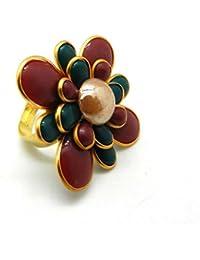 Multi Color Flower Shape Pacchi Work Adjustable Ring For Girls &Women Multi Color Flower Shape Pacchi Work Adjustable...