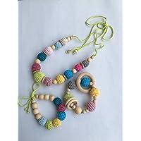 Conjunto de Collar de lactancia y porteo con juguete de dentición y pulsera a juego modelo Clara.