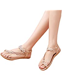 HENGSONG Femmes Pantoufles Chaussures Bohême Rome Tongs Plat Avec Sandales à Bout Ouvert