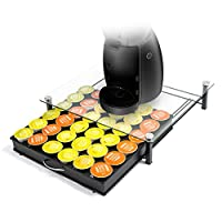 Coffee Capsule Holder HiveNets Tempered Glass Platform for Nescafe Dolce Gusto Machine Metal Kitchen Storage Capacity for 36PCS