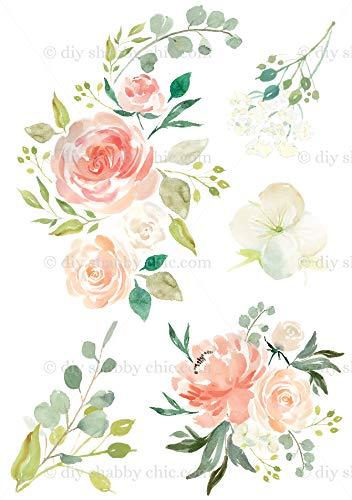 Möbel-Holz-Aufkleber, Motiv Vintage Antik Etiketten Blume Pfirsich Aquarell DIY -