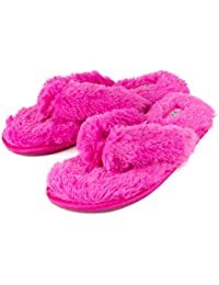 3c28a6223c2fc Fuzzy House Slippers for Women – Comfortable Furry Spa Thongs – Cozy Slip  On Flip Flops
