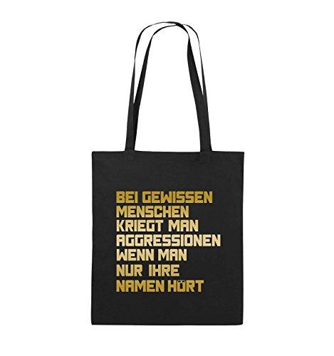 Comedy Bags - Bei gewissen Menschen kriegt man Aggressionen. - Jutebeutel - lange Henkel - 38x42cm - Farbe: Schwarz / Pink Schwarz / Gold