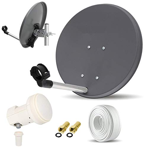 Digitale Camping Sat Anlage Spiegel 40 cm Single LNB 0,1 dB + Koaxialkabel 10m Kabel Balkon Caravan Mobil Schüssel Antenne SKYMASTER für HDTV HD SKY 3D 4K geeignet