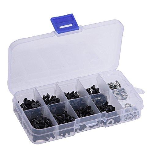 Dilwe Flache und Rundkopfschrauben 6mm 8mm 10mm 12mm M3 M4 Unterlegscheiben Set RC Zubehör mit Box für 1/10 HSP RC Auto(340pcs / Box)