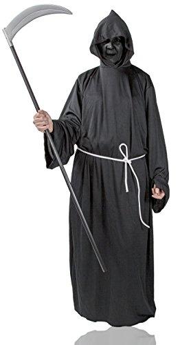 Henker Kutte Kapuze Grim-Reaper Kostüm Robe Mönch-Kutte schwarz Halloween-Kostüm Tod (Gr. 54/56) Umhang - Grim Reaper Robe Kostüm
