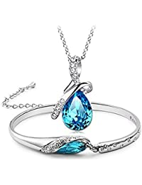 Valentine Gift By Shining Diva Crystal Combo Jewellery Pendant Necklace Set and Bracelet for Girls and Women (Blue) (rcmb215)
