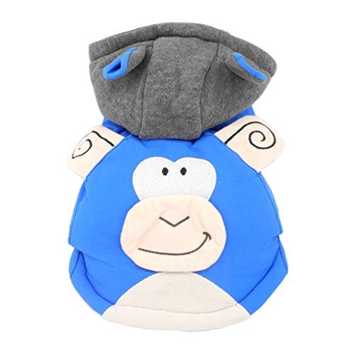 Männlich Kostüm Koreanische - smalllee_lucky_store AFFE Kostüm Kapuzenanorak mit Baumwollfutter Hooded Hundemantel Fleece gefüttert, blau, x-Large