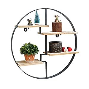 tag re murale ronde en bois de fer pour salon de bar loft tag re murale en forme de cube. Black Bedroom Furniture Sets. Home Design Ideas