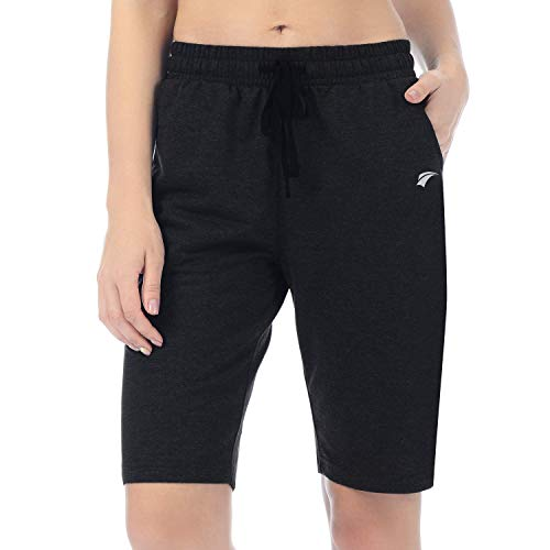 EZRUN Damen Lounge Bermuda Shorts Workout Activewear Gym Jogger Yoga Sweat Shorts mit Taschen, Damen, schwarz, Small - Lounge Shorts