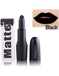 Rouge à lèvres Matte HUHU833 Maquillage Waterproof velours mat Forme des rouge à lèvres maquillage à lèvres brillant Glossy Lipstick (Noir)