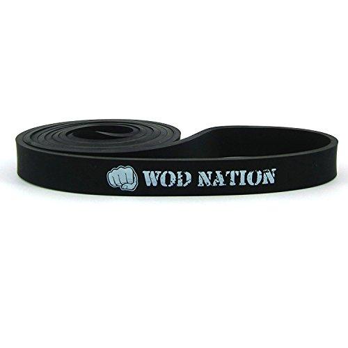 WOD Nation Resistance Band Fitnessband | Schwarzes Band 66-132 kg (30-60 lbs) | Perfekte Klimmzughilfe für Muskelaufbau, Übungsband für Pull Ups, Chin Ups, Mobilitätstraining und Ring Dips beim CrossFit-Training -