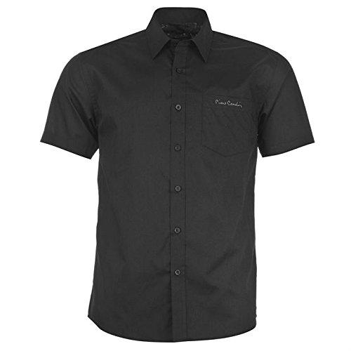Pierre Cardin–Camicia da uomo a maniche corte con fantasia e chiusura a bottone nero L