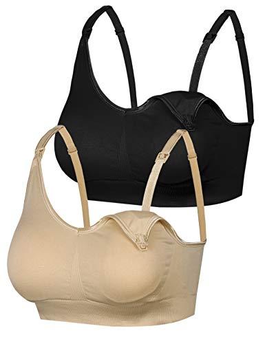 Aibrou Damen 2er Pack Still-BH Schwangerschaft Still BHS ohne Bügel Nahtlose Umstands BH Unterwäsche Maternity Schwarz& Hautfarbe XL