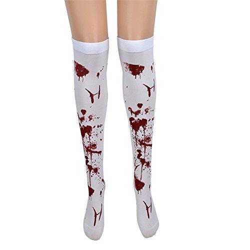 Befox Blut befleckte weiße Strümpfe Halloween Kostüm/Halloween Krankenschwester Kostüm - Link Kostüm Zum Verkauf