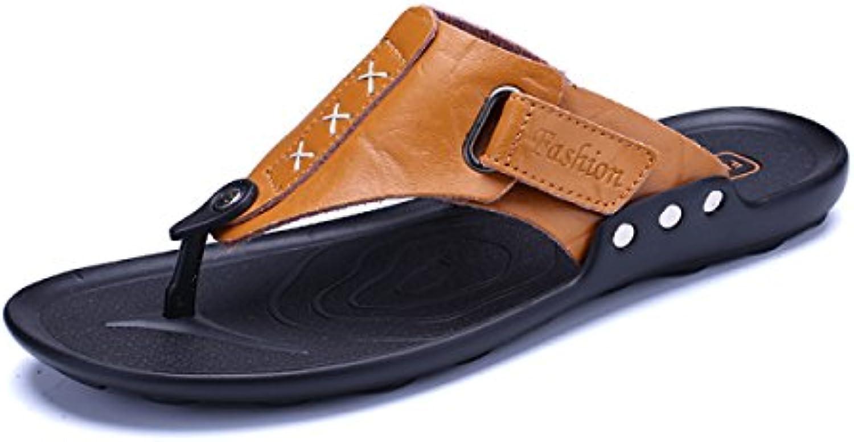 LXXAMens Verano Playa Hombre Zapatilla Peso Ligero Las Correas De Cuero De ShoesReal Flip Flops Sandalias De Tiras...