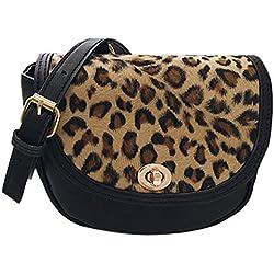NOTAG Bolsos de Mujer, Bolso Bandolera con Estampado de Leopardo Bolso de Hombro de Cuero PU Bolso Shopper