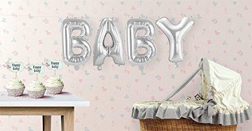 Buchstaben-Girlande Folienballons Baby - Silber - H: 36 cm (Öse Baby-mädchen)