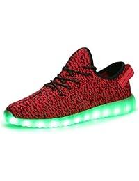 iPretty Sportschuhe mit Leucht LEDs Unisex Sneakers 7 Farbe Blinken USB Laden Laufschuhe Outdoorschuhe für Damen und Herren