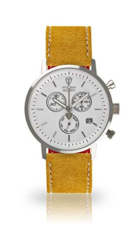 DETOMASO Milano Mens Watch Chronograph Analog Quartz Yellow Leather Strap White dial DT1052-B-810