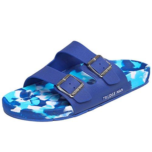 Hishoes Damen Herren Bad Dusche Pantoletten Hausschuhe Sommer Strand Aqua Slippers Flach Sandalen Blau