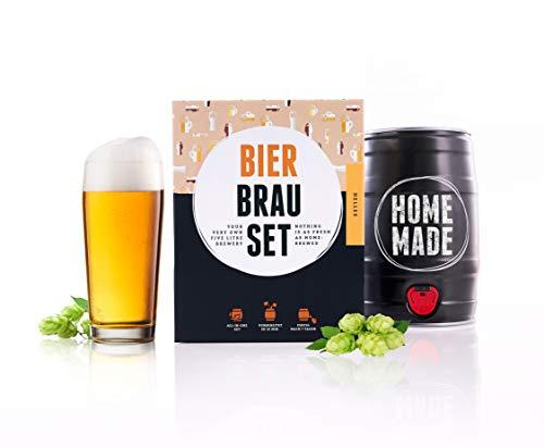 Bierbrauset zum selber Brauen | Helles im 5L Fass | Leckeres Bier In 7 Tagen gebraut | Perfektes Männergeschenk | von Braufässchen - Leere Bier Flaschen
